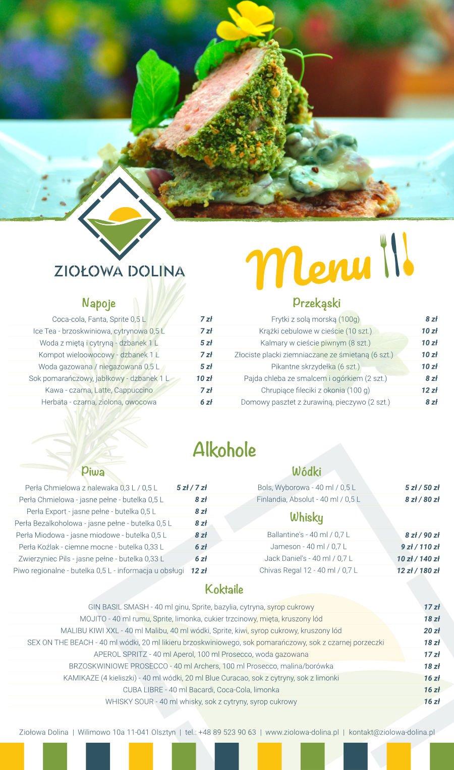 Karta menu - Restauracja Ziołowa Dolina
